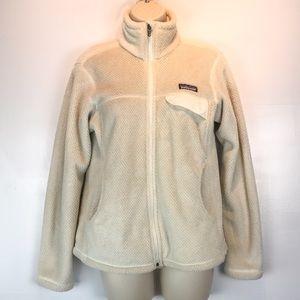 Patagonia ivory full zip retool fuzzy jacket Sz S